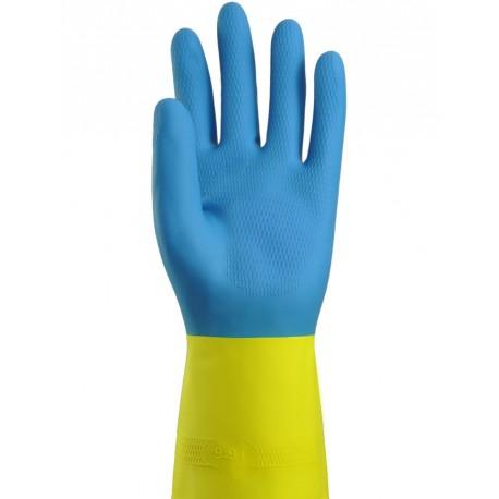 0212691 - Gant de ménage bicolore bleu/jaune flocké coton - la paire