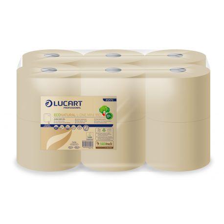 Papier toilette maxi jumbo Ecolabel 2 plis havane Eco Natural Lucart-6 bobines de 350 m