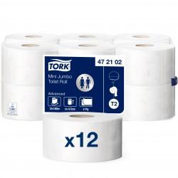 Papier toilette mini Jumbo Ecolabel Advanced 180 m Tork T2 - 12 bobines de 180 m