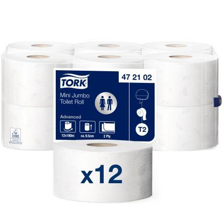Papier toilette mini Jumbo Ecolabel 2 plis Advanced Tork 180 m Tork T2-12 bobines de 180 m