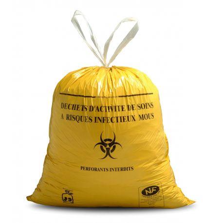 Sac poubelle D.A.S.R.I. liens coulissants 30 L 21 microns-carton de 500