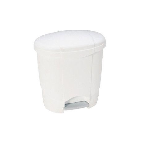 Poubelle plastique ovale à pédale blanche