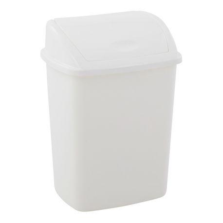 Poubelle plastique rectangulaire à pédale blanche