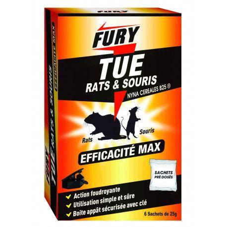 Raticide Souricide Fury - lot de 6 sachets + boîte à appât