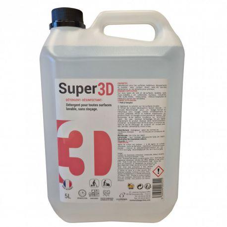 Détergent-désinfectant sols et surfaces SUPER 3D 5 L - bactéricide, virucide et levuricide